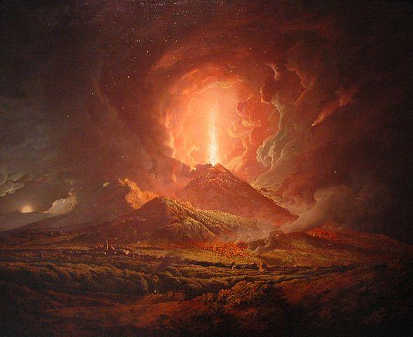 维苏威火山喷发(图片:英国画家Joseph Wright of Derby  1774—1776年间画作,美国加州亨廷顿图书馆藏)