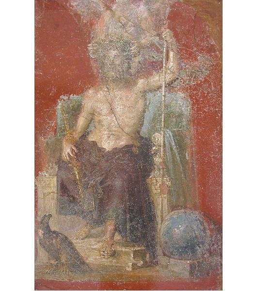 庞贝壁画上的朱庇特神与老鹰和地球(图片:Olivierw摄于拿坡里国立考古博物馆/维基)