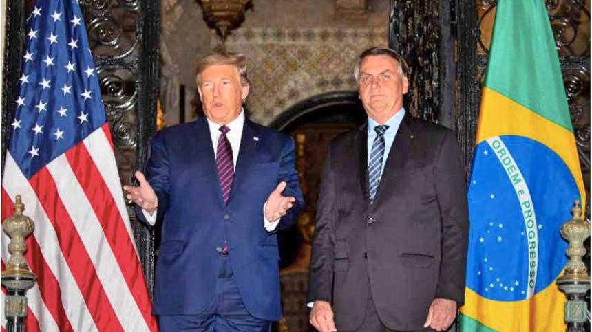 川普与巴西总统波索纳洛见面