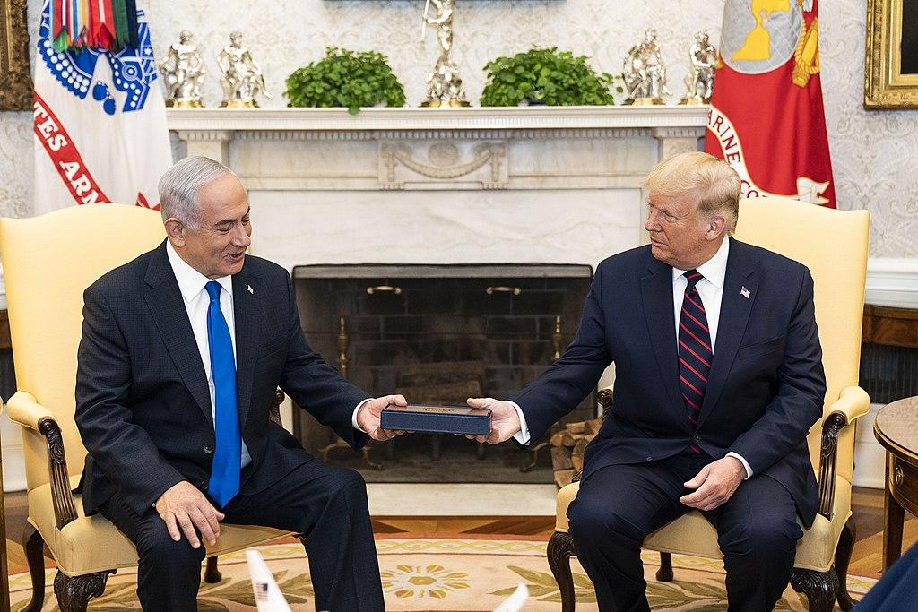 川普與以色列總理納坦雅胡2020年9月15日在白宮的會面