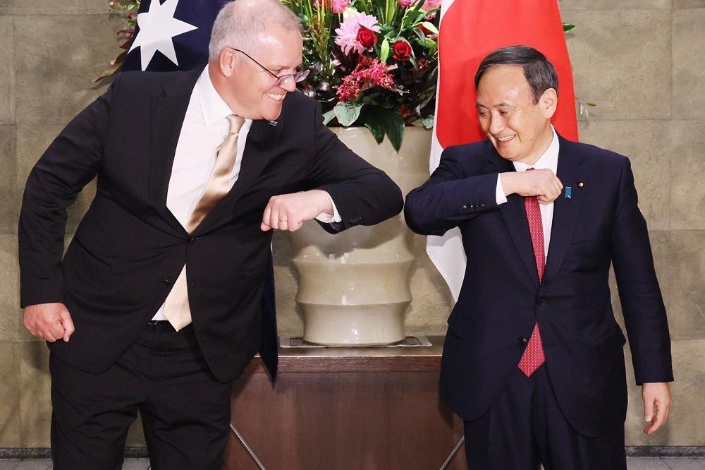 澳洲总理莫里森与日本首相菅义伟