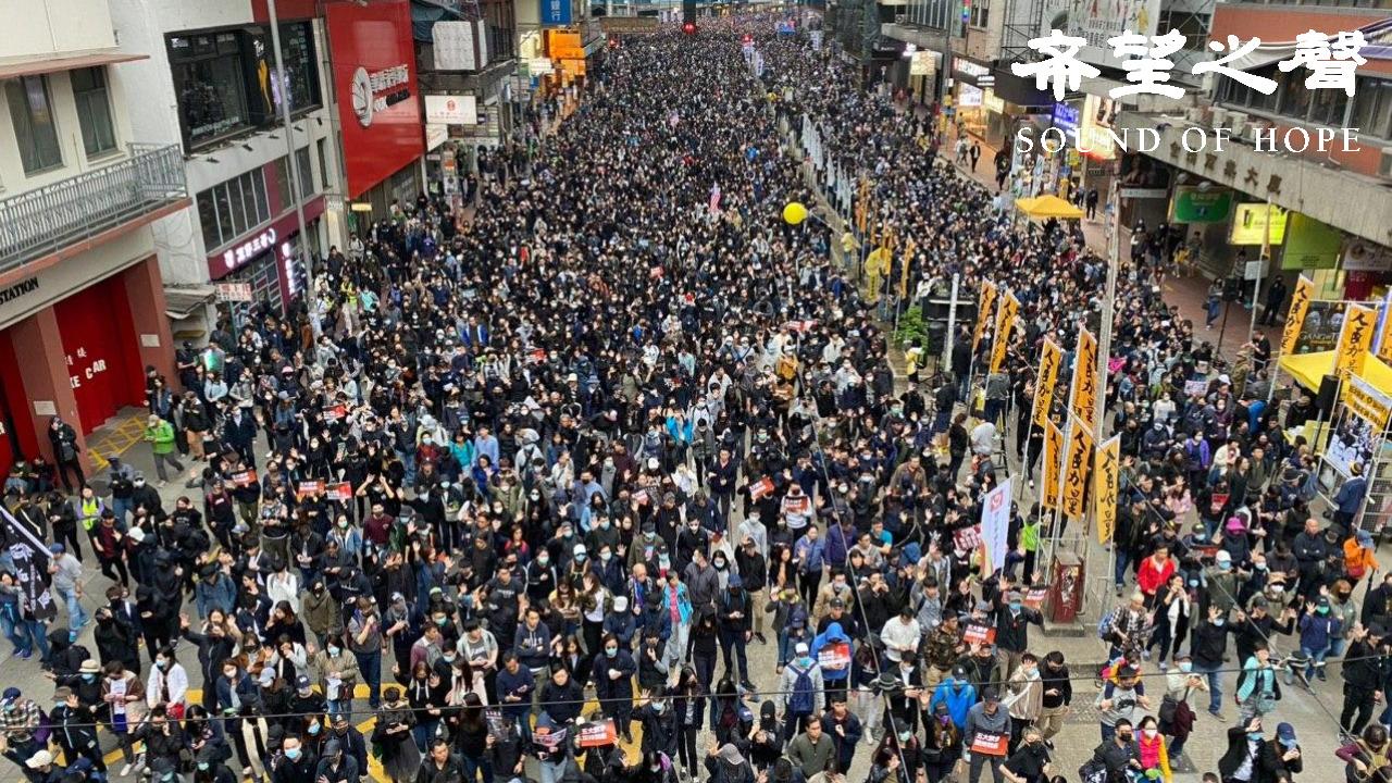 2020年7月1日,数十万港人以个人名义发起大游行,抗议国安恶法。(郑铭/SOH)