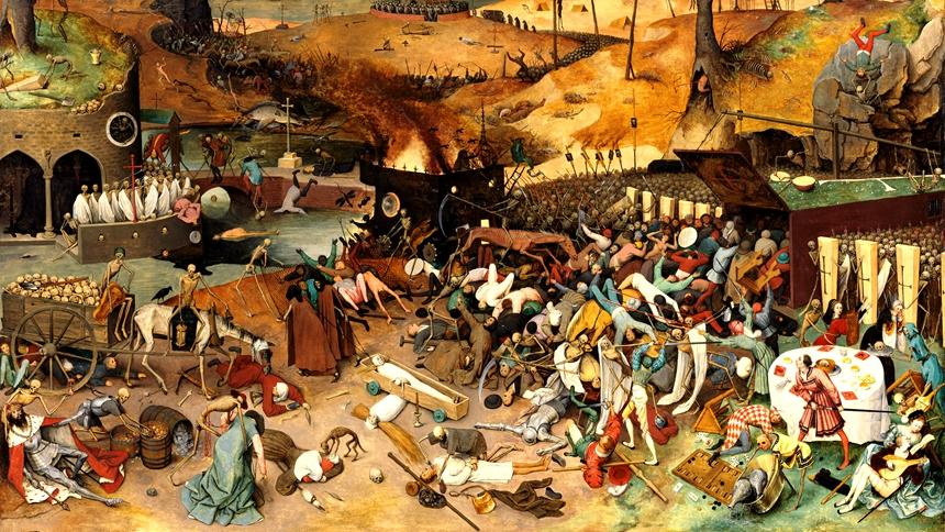 大瘟疫(图片: Pieter Brueghel the Elder 1562年前后画作局部,普拉多国家博物馆藏)