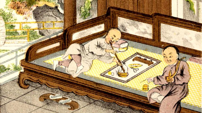 吸食鴉片(圖片:出自1880年版《The Chinese opium-smoker》)(局部)