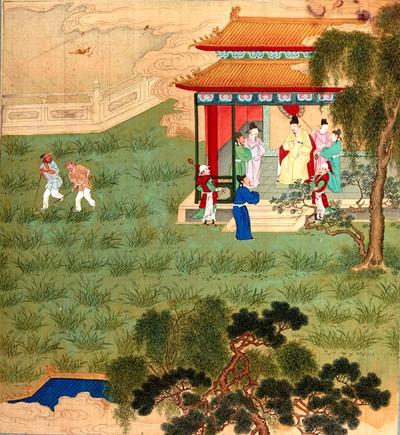 仁宗皇帝来到后苑,在宝岐殿观看割麦(图片:清代绘画)