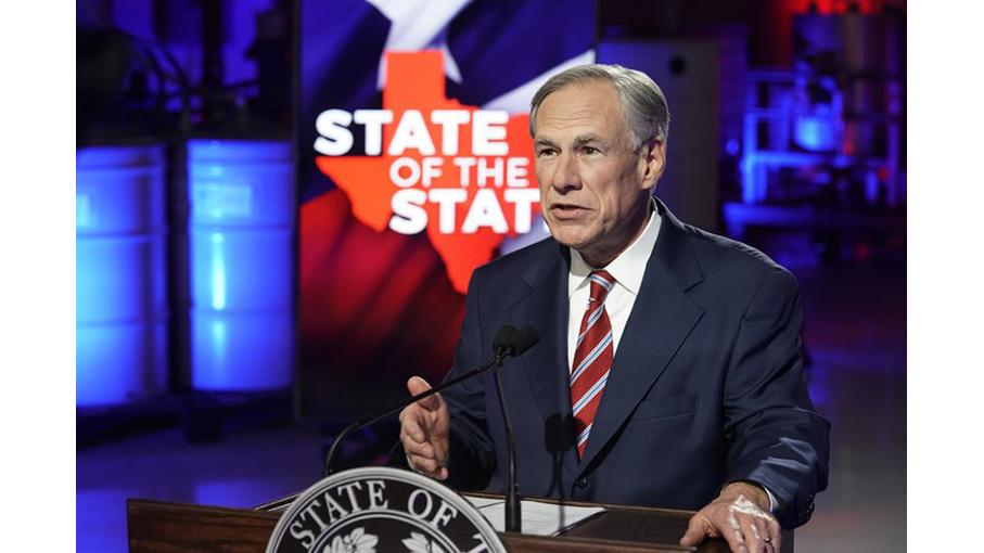 2021年2月1日,德州州长阿伯特(Greg Abbott)在发言。(Bob Daemmrich/AP)