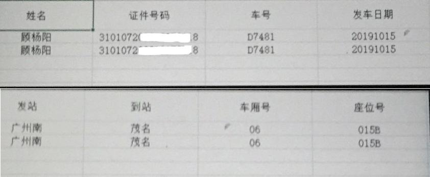 知情人提供的一条乘车记录显示,2019年10月15日,顾杨阳从广东南站乘火车到达茂名。(知情人提供)