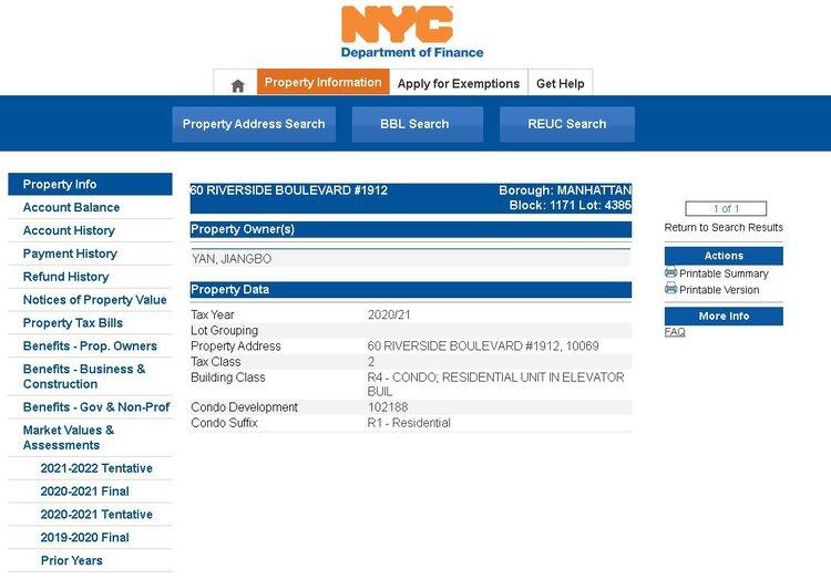 纽约政府网站上房产 60 Riverside Blvd, Apt 1912的业主信息。