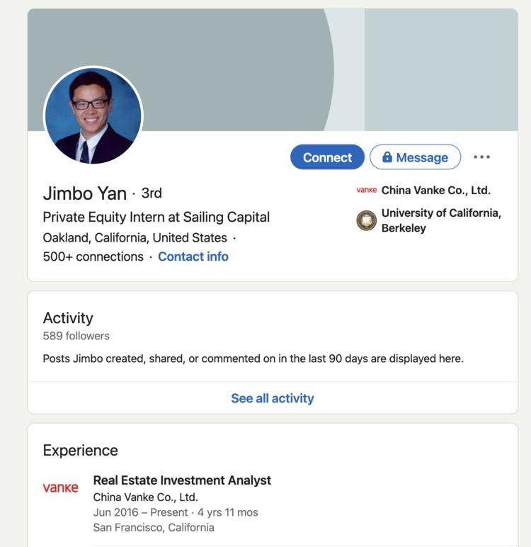 Jimbo Yan的领英页截图