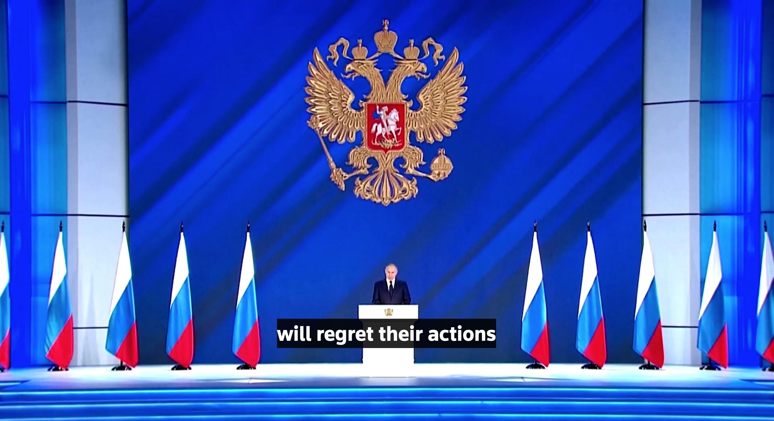俄羅斯總統普京於4月21日在俄羅斯國會發表國情諮文