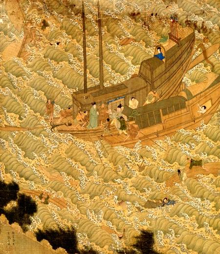 浙江人叫方文木的人泛舟出海,在海上遭遇风浪(示意图片: [明]余壬、吴钺画作局部)