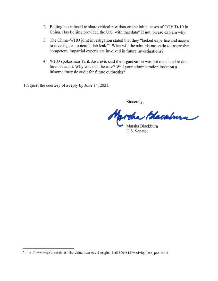 参议员布莱克本给拜登的信。