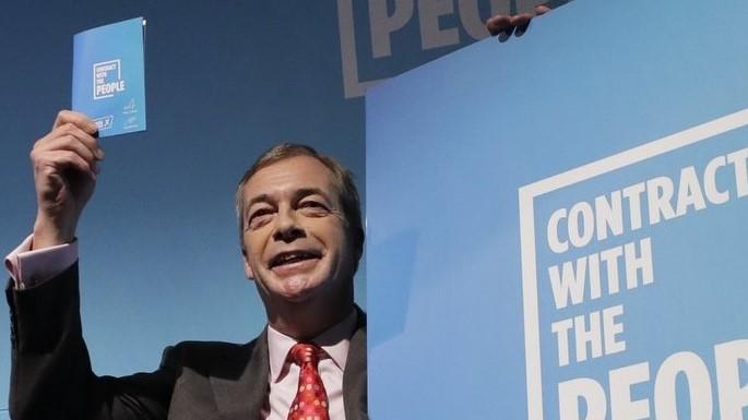 图为英国脱欧党领袖奈杰尔·法拉奇(Nigel Farage)。(图片来源:AP)