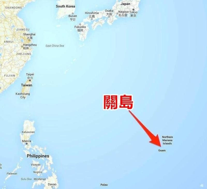 关岛位置图。