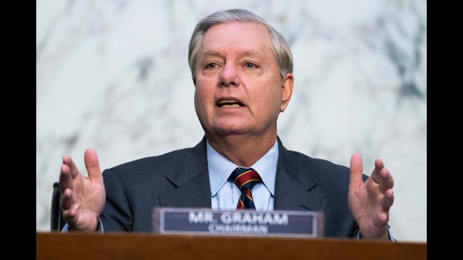 2020年10月13日, 共和党资深参议员格雷厄姆(Lindsey Graham)在发言。(Tom Williams/ Pool via AP)