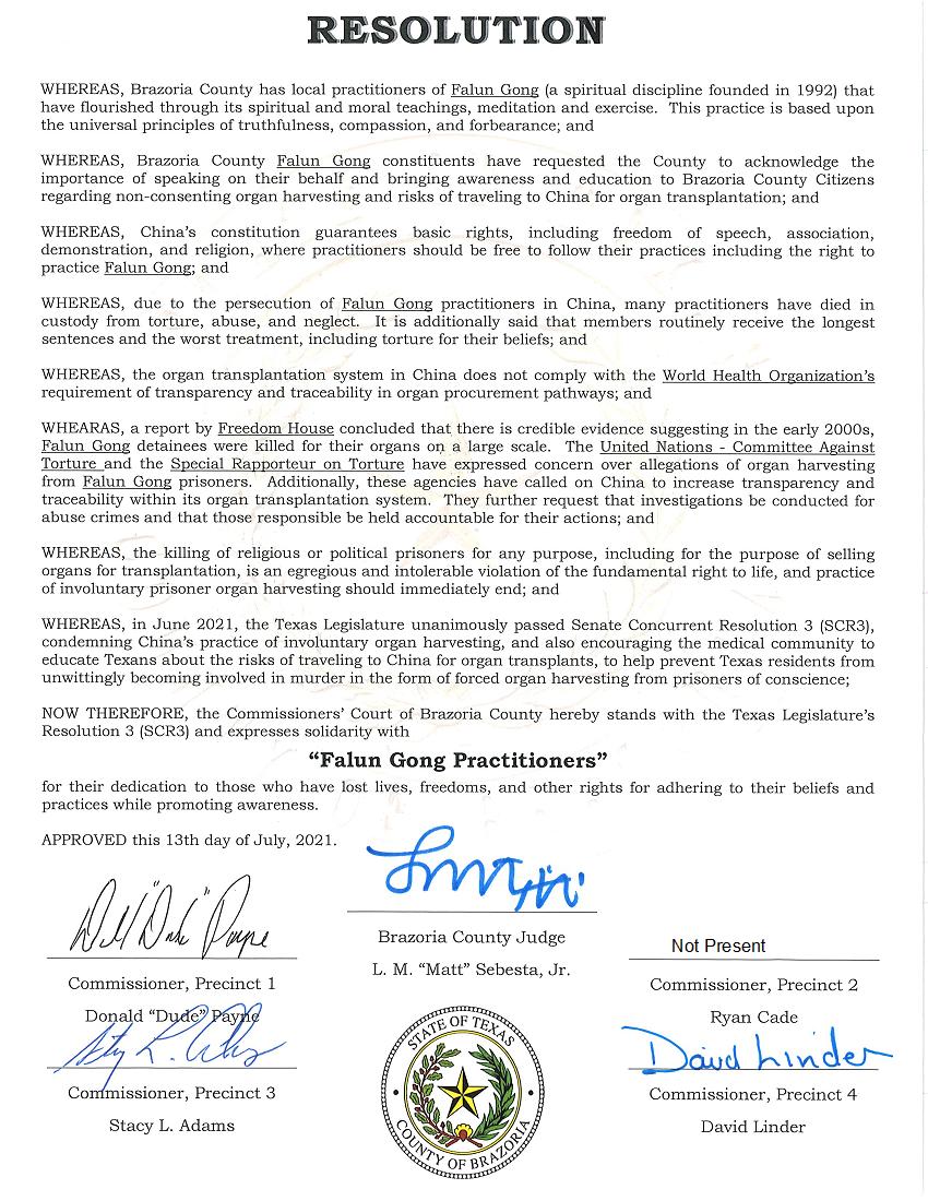 7约16日,Brazoria郡通过谴责中共活摘法轮功学员的决议案