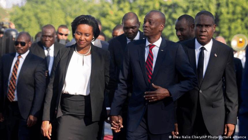遇刺身亡的海地总统莫伊兹与身负重伤的第一夫人玛婷资料照。(图:AP)