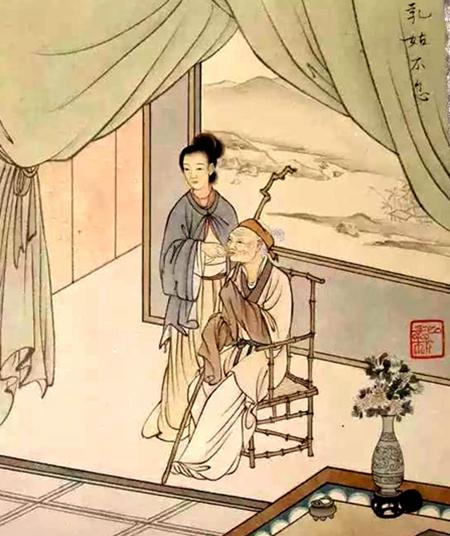 她高高兴兴地说:现在婆婆待我好到没法再好了(示意图片:陈少梅 画作局部,1954年)