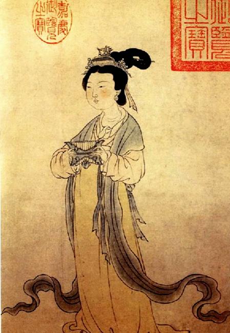 有个妇人长得很洁白,穿着一双黑色弓鞋,她一个人来(示意图片:[元] 周朗画作)