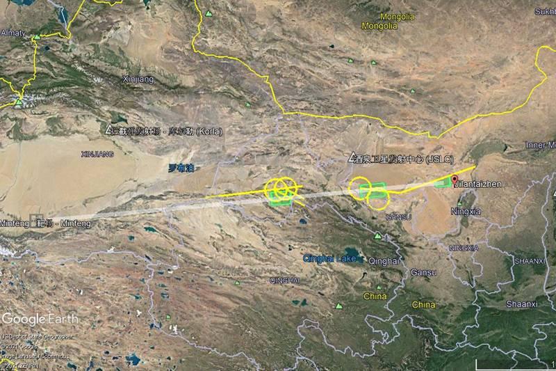 中國6日「飛行測試活動」示意圖,發射點位於內蒙古阿拉善左旗吉蘭泰鎮,終點位於新疆民豐縣,兩地直線距離接近2000公里。(取自推特@HenriKenhmann)