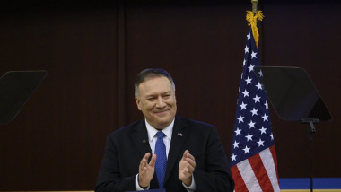 US Secretary of State Mike Pompeo during a press conference at the United Nations Economic Commission for Africa, in Addis Ababa, Ethiopia, on Wednesday Feb. 19, 2020. (Andrew Caballero-Reynolds/Pool via AP)
