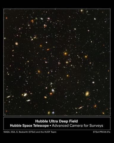 哈勃超深空内有不同年龄,大小,形状及颜色的星系