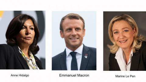 图:法国明年总统大选,参选的2位女政治家与现任总统马克龙(维基百科图/SOH合成)